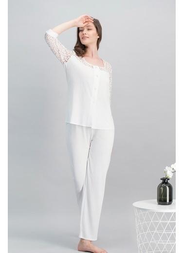 Arnetta Fancy Bride Kadın Gelin Gömlek Pijama 2'Li Çeyiz Seti Ekru